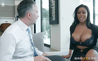 Buxom mature ebony MILF Moriah Mills fucked from behind and gets cum