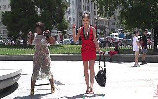 Ebony babe Sunny Star publicly humiliated by Tina Kay and strangers