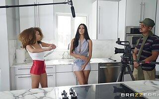 Ebony and Asian lesbians Cecilia Lion and Sophia Leone pussy licking