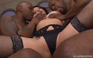 Interracial threesome with 2 black dudes and Japanese Mako Oda
