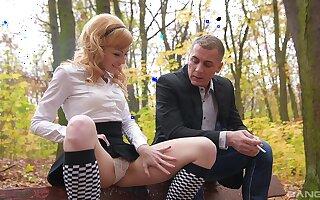 Blonde teen in a miniskirt Rebecca Black seduced into a hardcore fuck