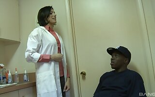 Naughty doctor Juelz Ventura is amazed by the size of her patients dick