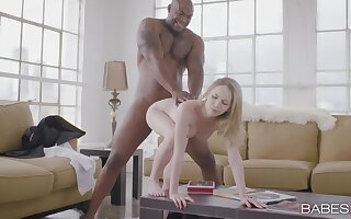 Black man's monster dick suits this blonde in perfect XXX