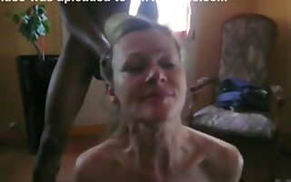 French wife gets mouth fucked and jizzed by black guy