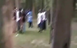Massive ebony groupsex party at daytime in a park