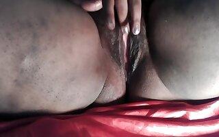 BBW masturbation her Hairy pussy, Ebony