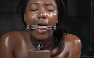Ebony babe Chanell Heart tied up and fucked deep by a big black dick