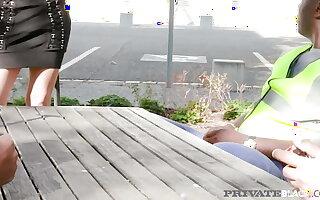 PrivateBlack - Blonde Slut Ria Sunn gets DPed Wide of 4 Chunky Black Cocks