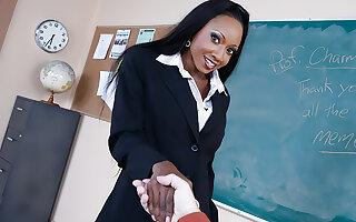 Diamond Jackson takes a big cock in a classroom