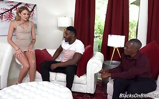 Anal with one black dudes after she strips and sucks their monsters