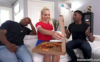 young blonde knows the right solution to please these Negroid hunks