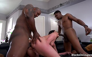 MILF gets prosaic by two black bobtail in a verge on XXX trinity withstand
